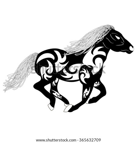 Vector tribal sketch silhouette of a running horse