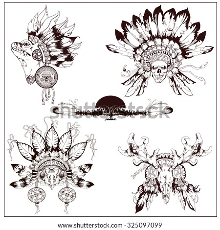 Vector tribal totem set with owl, deer,scull in chief hat and gecko (textile print). Adult coloring book page with totem animals. Owl, deer,scull in chief hat and gecko adult coloring illustration.  - stock vector