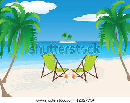 Vector - Tropical Beach with Chairs and drinks - stock vector
