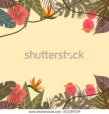 Vector tropical border frame with flower and palm leaves monkey on light background - stock vector