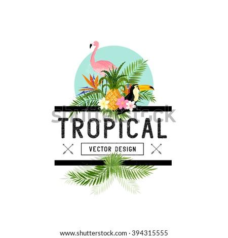 Vector Tropical Design Elements.  - stock vector
