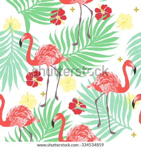 Vector tropical exotic seamless pattern with flamingo, palm and hibiscus flower - stock vector