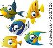 vector tropical fish set - stock vector