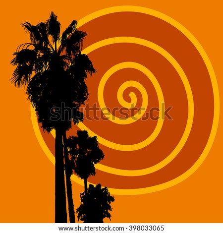 Vector tropical illustration with sun and palm trees. Summer sunset image - stock vector