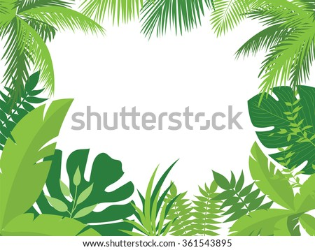 Vector tropical jungle background with palm trees and leaves. - stock vector