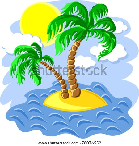 vector tropical landscape of the island in the ocean and two palm trees at noon