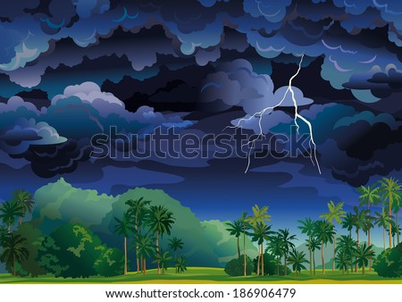 Vector tropical landscape. Stormy sky with lightning and coconut palms. - stock vector