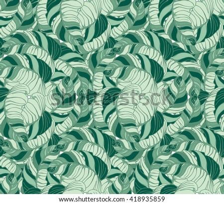 Vector tropical leaves pattern. Palm watercolor seamless background. Exotic tropical leaves pattern. Summer swimwear seamless pattern with banana palms. - stock vector
