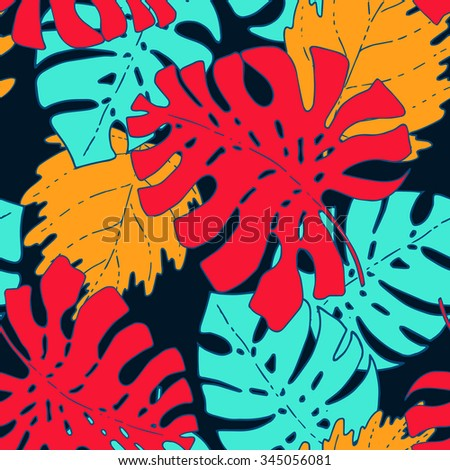 Vector tropical plant leaves seamless pattern, exotic hawaii flora design