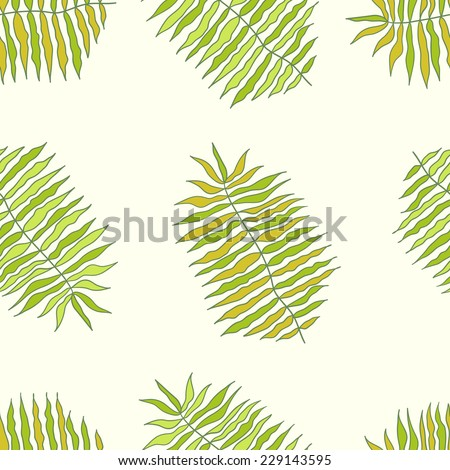 Vector tropical seamless jungle pattern. Seamless texture with palm tree leaves. Seamless pattern can be used for wallpaper, pattern fills, web page background, surface textures. - stock vector