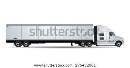 Vector truck with trailer isolated on white background - stock vector