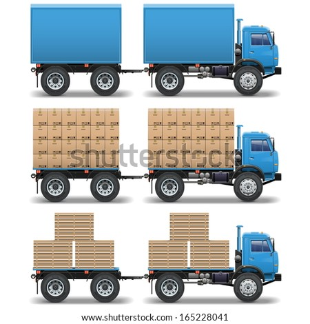 Vector trucks with trailers - stock vector