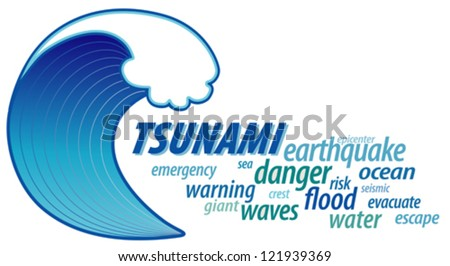 vector - Tsunami word cloud with giant ocean wave crest graphic illustration, isolated on white background. EPS8 compatible. - stock vector