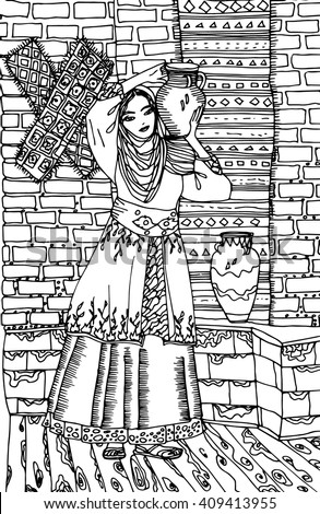 vector turkish woman in traditional costume illustration
