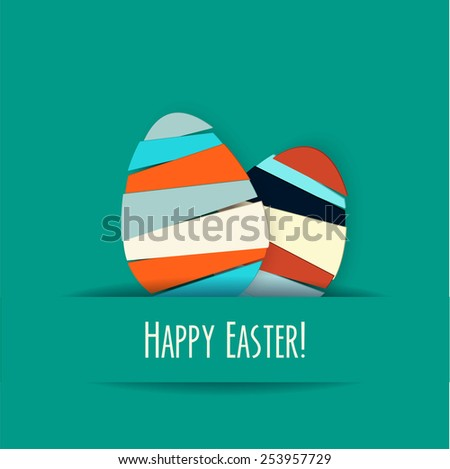 Vector turquoise Paper card with striped easter eggs - stock vector