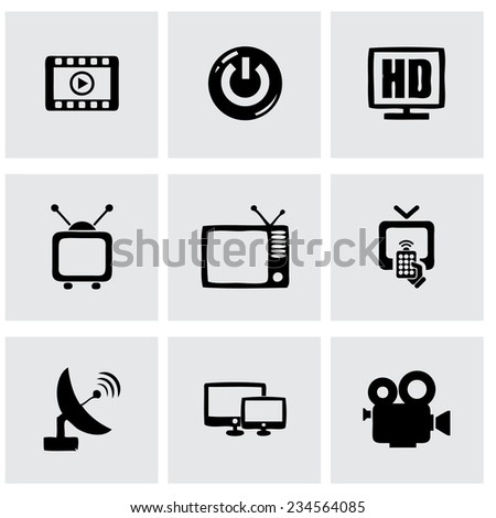 Vector tv icon set on grey background