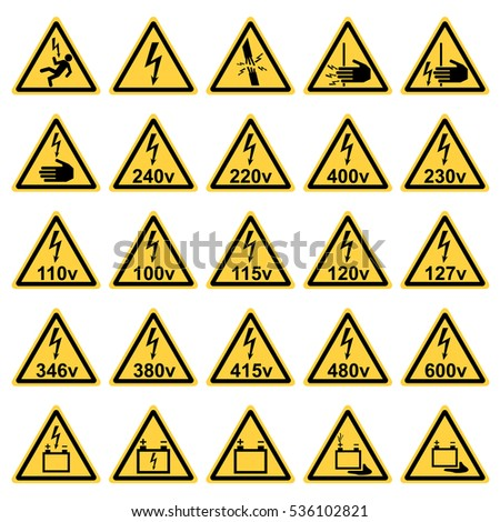 vector twenty-five yellow triangles safety on the subject of electricity