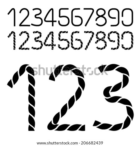 Vector twine font alphabet - simple rope numbers - one, two, three, four, five, six, seven, eight, nine, zero - stock vector