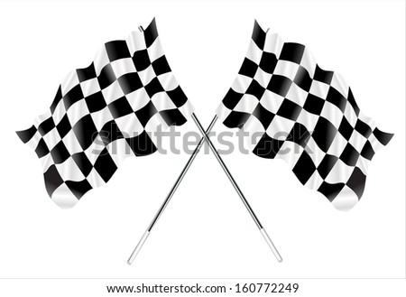 Vector two crossed checkered flags.