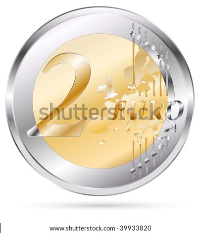 vector two euro coin isolated on white - stock vector
