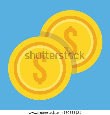 Vector Two Gold Coins Dollar Icon - stock vector