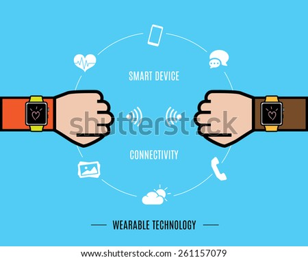 Vector : Two Hand with smart watch and smart watch function icon,Wearable Technology - stock vector