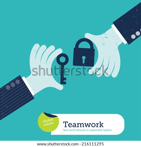 Vector two hands with padlock and key. Vector illustration Eps10 file. Global colors. Text and Texture in separate layers. - stock vector