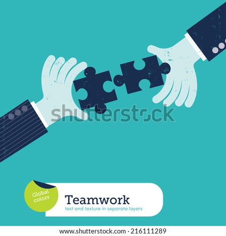 Vector two hands with puzzle. Vector illustration Eps10 file. Global colors. Text and Texture in separate layers. - stock vector