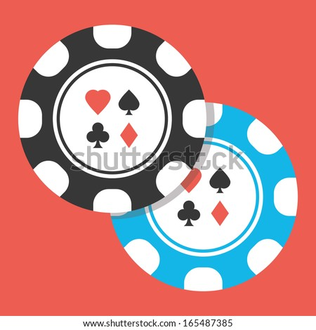 Vector Two Poker Chips Icon - stock vector