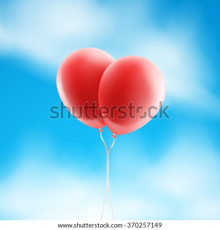 Vector two red balloons in the sky. - stock vector