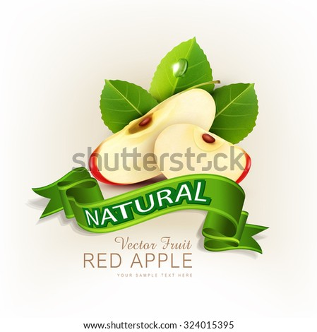 vector two slices of red apple with green leaves and green ribbons isolated on white background - stock vector