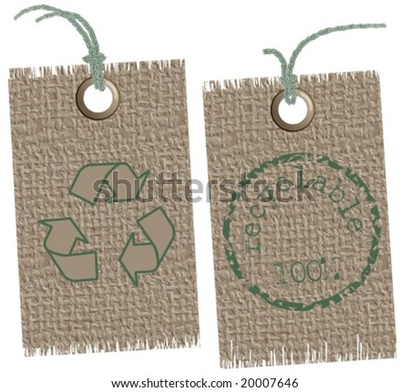 Vector: two textile labels with recycle symbols. Text / symbols can be replaced easily.