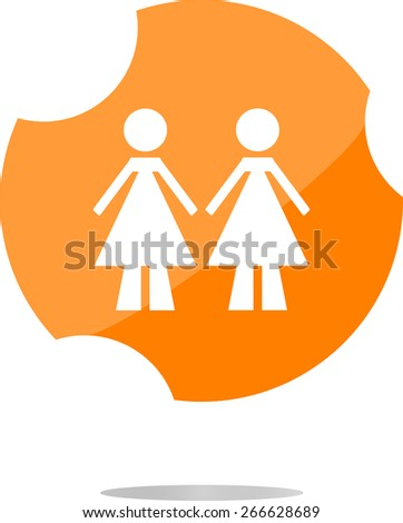 vector two woman glossy web icon on white background - stock vector