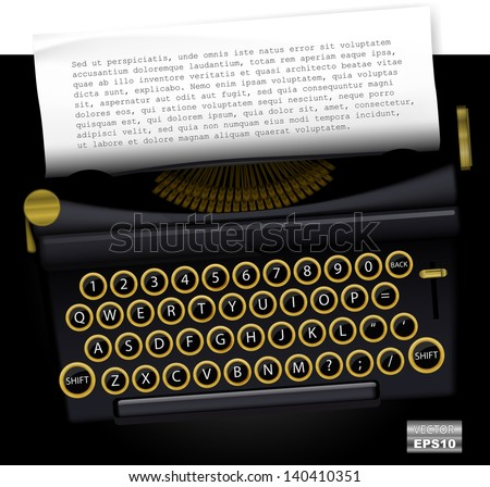 Vector typewriter with list paper for text. EPS10. - stock vector