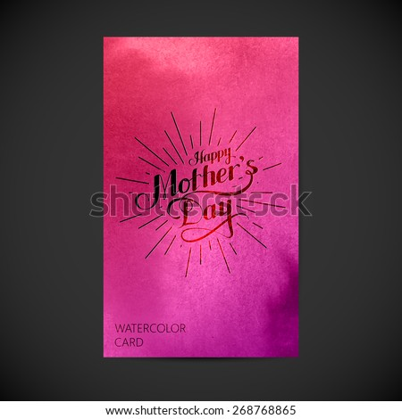 vector typographic illustration of handwritten Happy Mothers Day retro label with light rays on watercolor background. lettering composition. postcard design  - stock vector