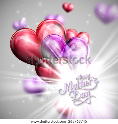 vector typographic illustration of handwritten Happy Mothers Day retro label with light rays or flash and flying balloon hearts. lettering composition  - stock vector