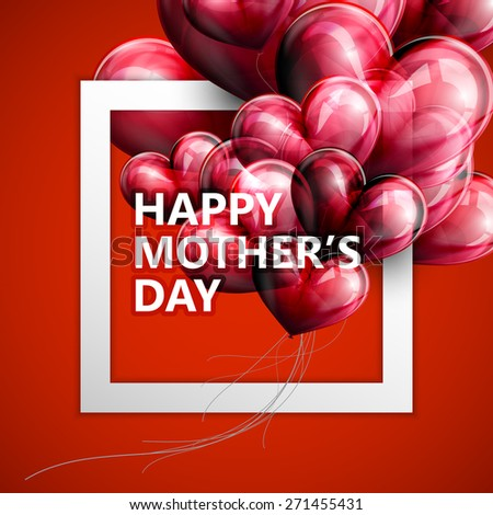 vector typographic illustration of Happy Mothers Day label with white square frame and red flying balloon hearts. postcard design - stock vector