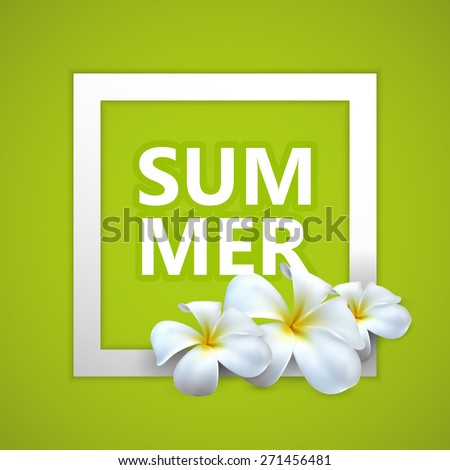 vector typographic illustration of Summer label with exotic frangipani flowers. postcard design. - stock vector