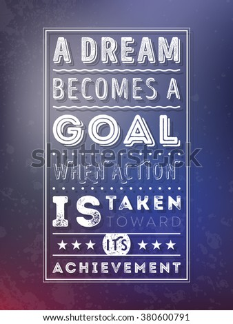 Vector Typography Poster with Motivational Quote On Blurred Background