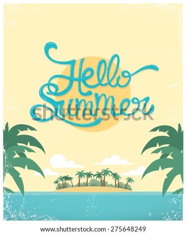 Vector typography summer background - stock vector