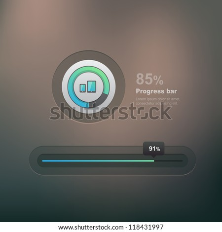 Vector ui element, progress bar on dark background