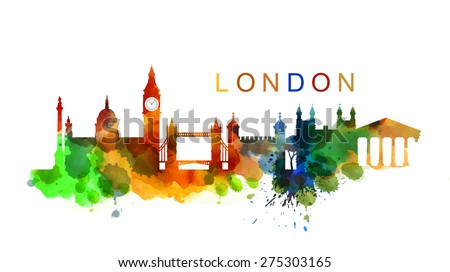 vector UK and landmark architecture vector set - stock vector