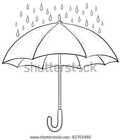 Vector, umbrella and rain drops, monochrome contours on white background - stock vector
