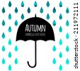 Vector umbrella black symbol with text block. Watercolor blue autumn background. Square composition with umbrella and rain drops. Design template for label, flyer, banner, card. - stock vector
