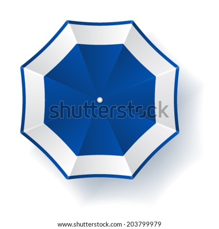 vector umbrella blue white - stock vector