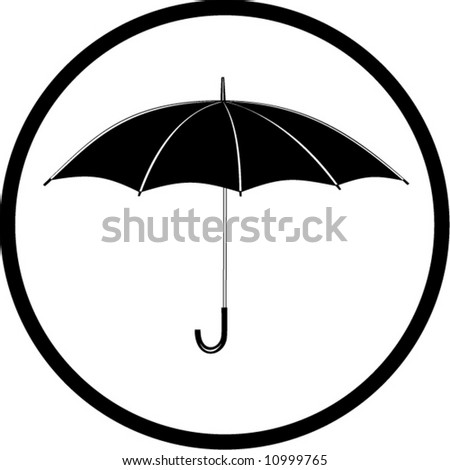 Vector umbrella icon. Black and white. Simply change. In my portfolio there is version 4 in 1.