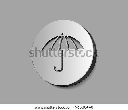 Vector Umbrella icon labels design. - stock vector