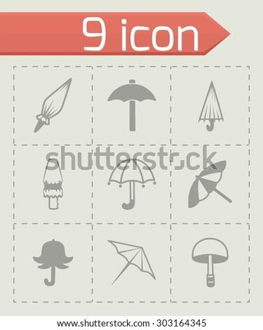 Vector umbrella icon set on grey background - stock vector