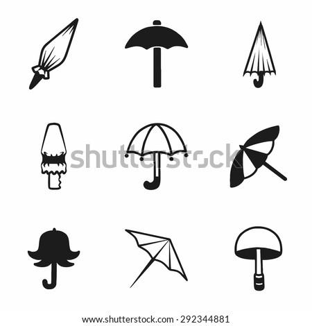 Vector umbrella icon set on white background - stock vector