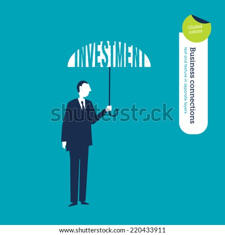 Vector umbrella investment. Vector illustration Eps10 file. Global colors. Text and Texture in separate layers. - stock vector